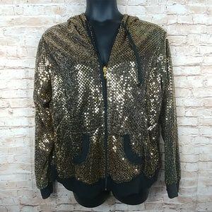 Ashley Stewart GOLD sequin hooded jacket 18/20